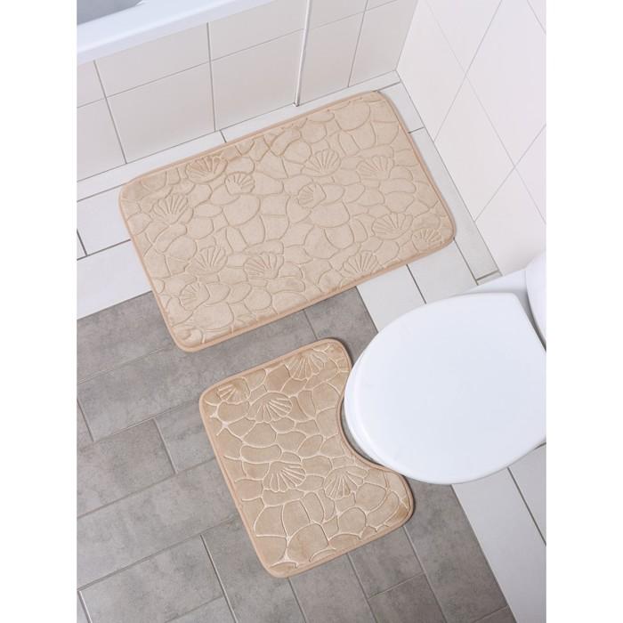 "Set of floor mats for bathroom and toilet ""Pebbles, shells"" 2-piece, 50 × 80, 40х39 cm, color beige"