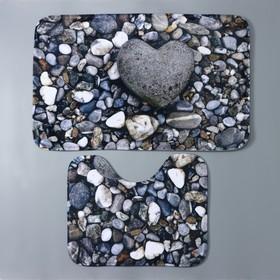 Набор ковриков для ванны и туалета «Галька», 2 шт: 40×50, 50×80 см