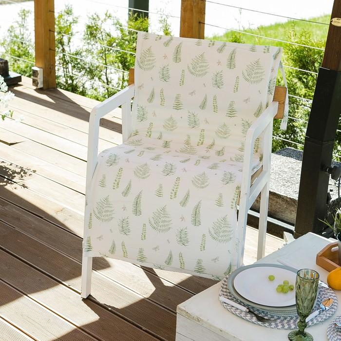 Подушка на уличное кресло «Этель» Листья 50×100+2 см, репс с пропиткой ВМГО, 100% хлопок