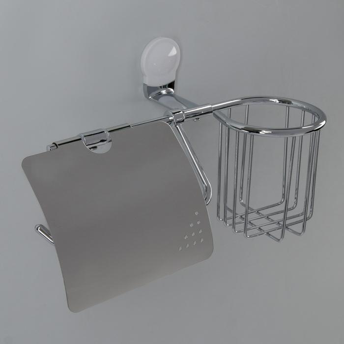 Держатель для туалетной бумаги с крышкой и дезодоранта Accoona A11805G-1, цвет белый