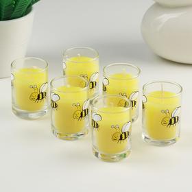 Набор свечей антимоскитных с цитронеллой в стакане, 6 шт