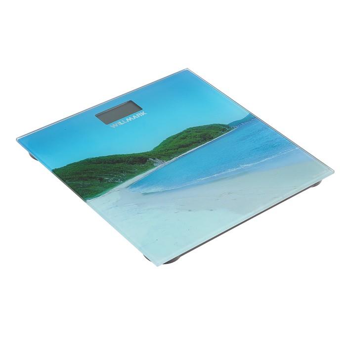 """Весы напольные WILLMARK WBS-1803D, электронные, до 180 кг, картинка """"Райский пляж"""""""