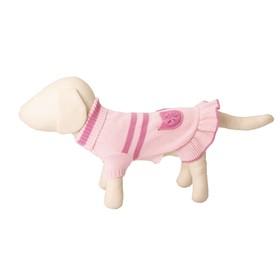 Платье вязаное с высоким горлом, ДС 25 см, розовое