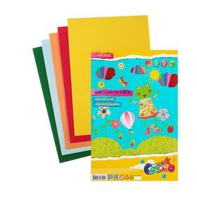 Бумага цветная бархатная самоклеящаяся, набор A4, deVENTE, 5 листов х 5 цветов, 145 г/м²
