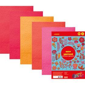 Фетр цветной, набор A4, 2 мм, deVENTE, 5 листов х 5 цветов, «Оттенки красного»