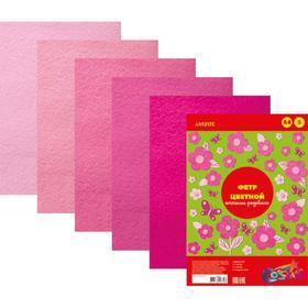 Фетр цветной, набор, A4, 2 мм, deVENTE, 5 листов х 5 цветов, «Оттенки розового»