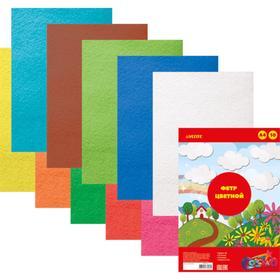 Фетр цветной, набор A4, 2 мм, deVENTE, 10 листов х 10 цветов, яркие цвета