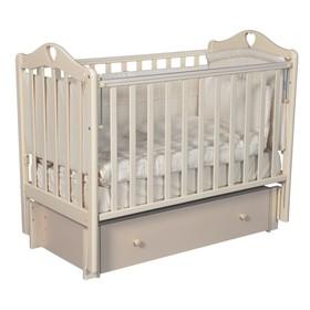 Детская кровать «Каролина-4/6», универсальный маятник, закрытый ящик, цвет слоновая кость