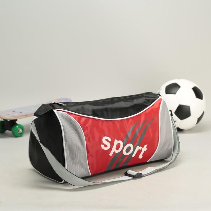 Сумка спортивная 1 отдел, регулируемый ремень, красная вставка, черно-красный
