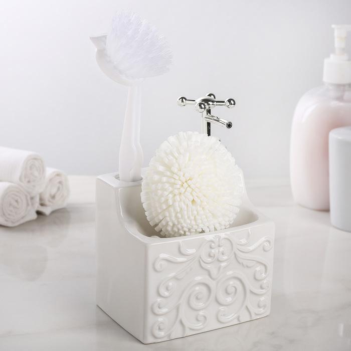 Дозатор для моющего средства с подставкой для губки и щётки «Камелия», 600 мл, цвет белый