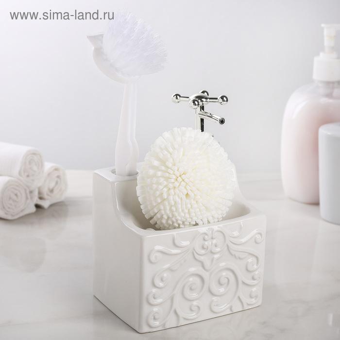 """Soap dispenser with holder for sponge and brush """"Camellia"""", white"""