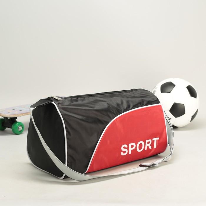 Сумка спортивная SPORT 1 отдел, регулируемый ремень, вставка красная, черно-красный