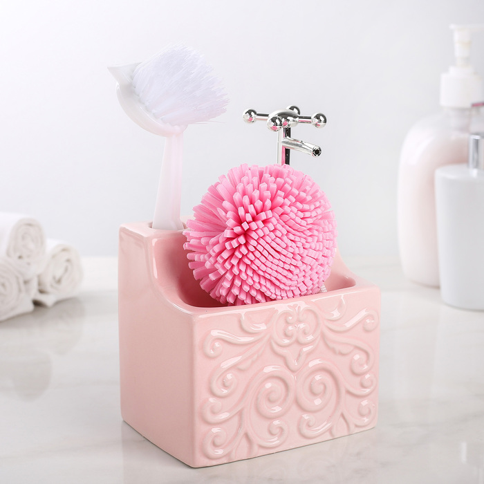 """Дозатор для моющего средства с подставкой для губки и щётки """"Камелия"""", цвет розовый"""
