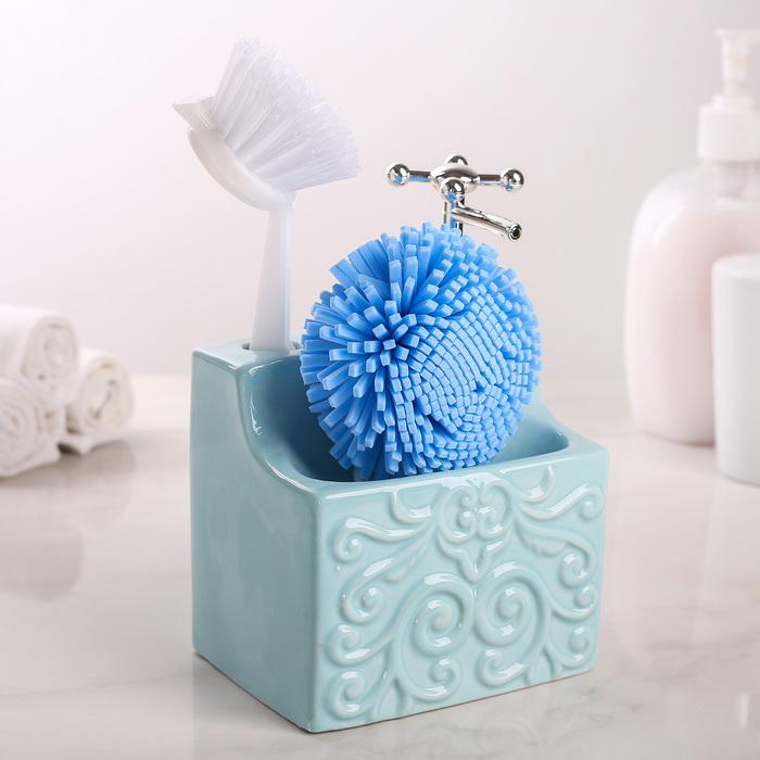 """Дозатор для моющего средства с подставкой для губки и щётки """"Камелия"""", цвет голубой"""