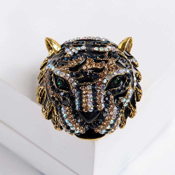 """Брошь """"Леопард"""", цветная в золоте"""