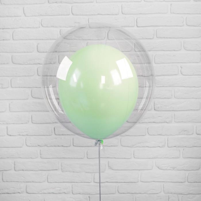 """Шар полимерный 20"""" «Шар в шаре», макарун, цвет зелёный, 2 шт. - фото 308466128"""