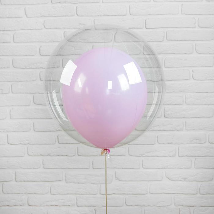 """Шар полимерный 24"""" «Шар в шаре», макарун, цвет розовый, 2 шт. - фото 308466138"""
