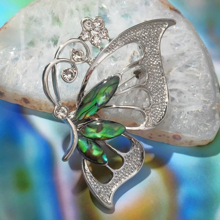 """Брошь """"Галиотис"""" бабочка с цветком"""