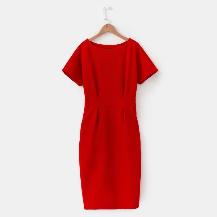 Платье женское, цвет красный, размер 46
