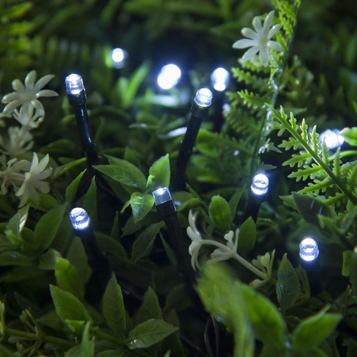"""Гирлянда """"Нить"""", уличная на солнечной батарее 12 м, Н.Т. LED-100, 2 режима, нить тёмная, свечение белое"""