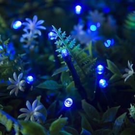 """Гирлянда """"Нить"""" 10 м, тёмная нить, 100 LED, свечение синее, 2 режима, солнечная батарея - фото 7413857"""