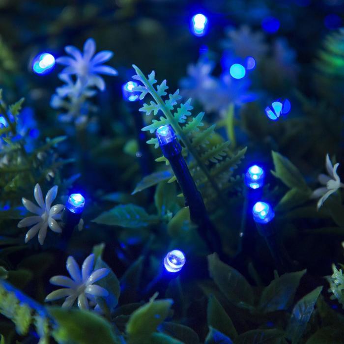 """Гирлянда """"Нить"""", уличная на солнечной батарее 12 м, Н.Т. LED-100, 2 режима, нить тёмная, свечение синее"""