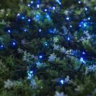 """Гирлянда """"Нить"""" 10 м, тёмная нить, 100 LED, свечение синее, 2 режима, солнечная батарея - фото 7413858"""