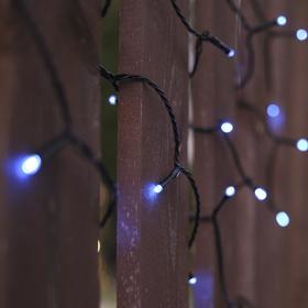 """Гирлянда """"Нить"""" 10 м, тёмная нить, 100 LED, свечение синее, 2 режима, солнечная батарея - фото 8214882"""