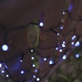 """Гирлянда """"Нить"""" 10 м, тёмная нить, 100 LED, свечение синее, 2 режима, солнечная батарея - фото 8214883"""