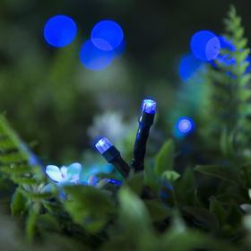 """Гирлянда """"Нить"""" 10 м, тёмная нить, 100 LED, свечение синее, 2 режима, солнечная батарея - фото 7413860"""