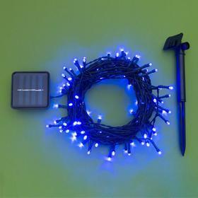 """Гирлянда """"Нить"""" 10 м, тёмная нить, 100 LED, свечение синее, 2 режима, солнечная батарея - фото 7413863"""