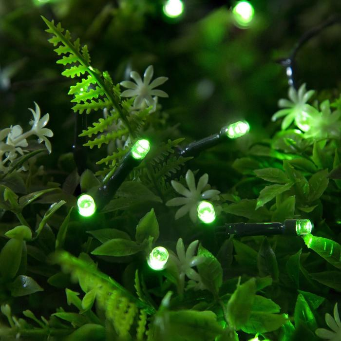 """Гирлянда """"Нить"""", уличная на солнечной батарее 12 м, Н.Т. LED-100, 2 режима, нить тёмная, свечение зелёное"""