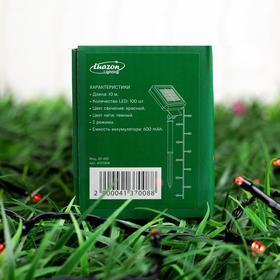 """Гирлянда """"Нить"""" 10 м, тёмная нить, 100 LED, свечение красное, 2 режима, солнечная батарея - фото 7413884"""