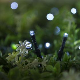 """Гирлянда """"Нить"""" 20 м, тёмная нить, 200 LED, свечение белое, 2 режима, солнечная батарея - фото 7413914"""