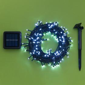 """Гирлянда """"Нить"""" 20 м, тёмная нить, 200 LED, свечение белое, 2 режима, солнечная батарея - фото 7413917"""