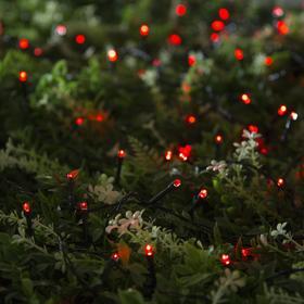 """Гирлянда """"Нить"""" 20 м, тёмная нить, 200 LED, свечение красное, 2 режима, солнечная батарея - фото 7413957"""