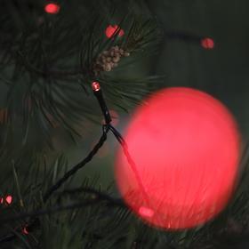 """Гирлянда """"Нить"""" 20 м, тёмная нить, 200 LED, свечение красное, 2 режима, солнечная батарея - фото 8214898"""