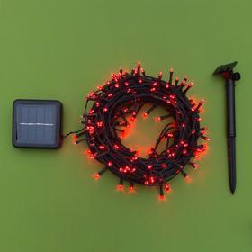 """Гирлянда """"Нить"""" 20 м, тёмная нить, 200 LED, свечение красное, 2 режима, солнечная батарея - фото 7413962"""