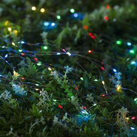 """Гирлянда """"Нить"""" 10 м роса, серебристая нить, 100 LED, свечение мульти, 2 режима, солнечная батарея - фото 7413979"""