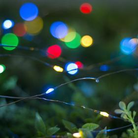 """Гирлянда """"Нить"""" 10 м роса, серебристая нить, 100 LED, свечение мульти, 2 режима, солнечная батарея - фото 7413982"""