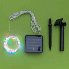 """Гирлянда """"Нить"""" 10 м роса, серебристая нить, 100 LED, свечение мульти, 2 режима, солнечная батарея - фото 7413985"""