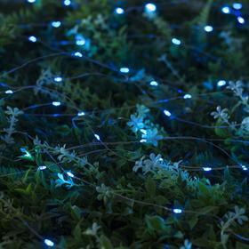 """Гирлянда """"Нить"""" 10 м роса, серебристая нить, 100 LED, свечение синее, 2 режима, солнечная батарея - фото 7414013"""