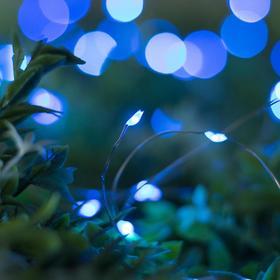 """Гирлянда """"Нить"""" 10 м роса, серебристая нить, 100 LED, свечение синее, 2 режима, солнечная батарея - фото 7414014"""