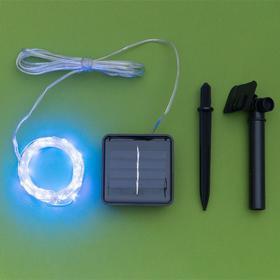 """Гирлянда """"Нить"""" 10 м роса, серебристая нить, 100 LED, свечение синее, 2 режима, солнечная батарея - фото 7414017"""