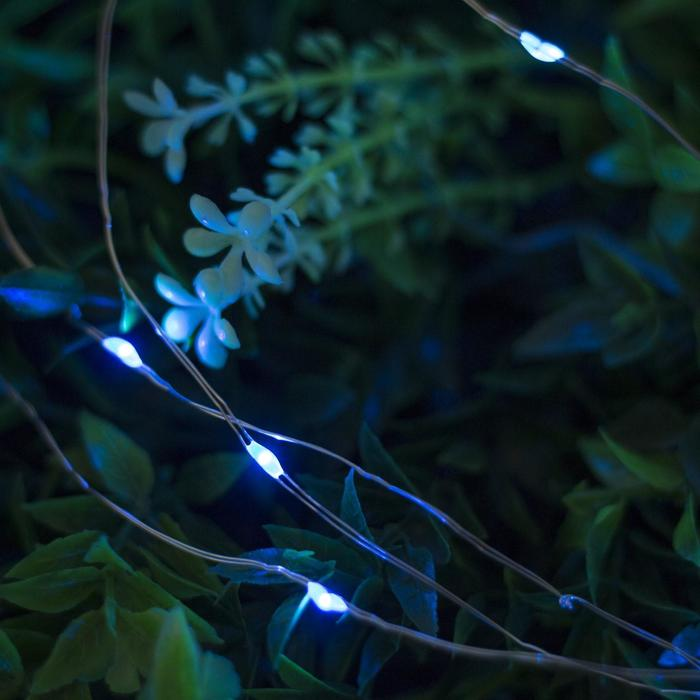 """Гирлянда """"Нить"""", уличная на солнечной батарее """"Роса"""" 22 м, LED-200, 2 режима, нить прозрачная, свечение синее"""
