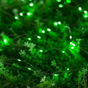 """Гирлянда """"Нить"""" 20 м роса, серебристая нить, 200 LED, свечение зелёное, 2 режима, солнечная батарея - фото 7414099"""