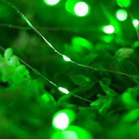 """Гирлянда """"Нить"""" 20 м роса, серебристая нить, 200 LED, свечение зелёное, 2 режима, солнечная батарея - фото 7414100"""