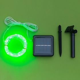 """Гирлянда """"Нить"""" 20 м роса, серебристая нить, 200 LED, свечение зелёное, 2 режима, солнечная батарея - фото 7414103"""