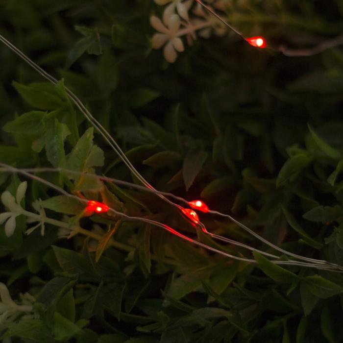 """Гирлянда """"Нить"""", уличная на солнечной батарее """"Роса"""" 22 м, LED-200, 2 режима, нить прозрачная, свечение красное"""