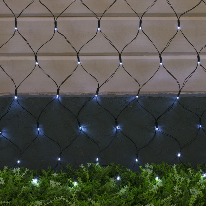 """Гирлянда """"Сеть"""", уличная на солнечной батарее Ш:2 м, В:1,5 м, Н.Т ,LED-192, 2 режима, нить тёмная, свечение белое"""
